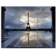 DesignArt 'Reflection of Eiffel Tower w/ Clouds' 3 Piece Photographic Print on Canvas Set