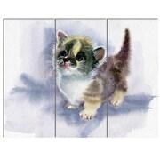 DesignArt 'Cute Kitten on Blue Watercolor' 3 Piece Graphic Art on Canvas Set