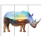 DesignArt 'Rhino Double Exposure Illustration' 3 Piece Graphic Art on Canvas Set