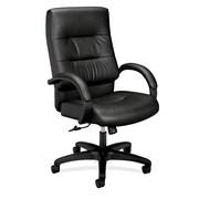 basyx by HON® VL691 Executive High-Back Office Chair, Black SofThread™ Leather (BSXVL691SB11)