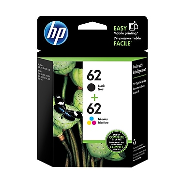 HP 62 Ens. 2 cartouches d'encre noire et tricolore d'origine (N9H64FN)