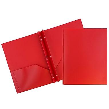 JAM PaperMD – Chemise d'école Eco en plastique à 2 pochettes avec attaches en métal, rouge, 96/paquet