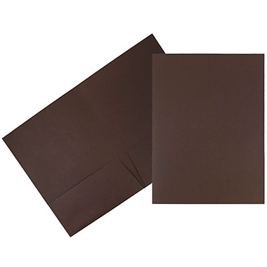 JAM Paper® 2 Pocket Linen Folders, Chocolate Brown, 25/Pack (386LBRA)
