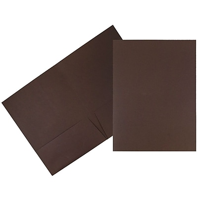JAM Paper® Two Pocket Presentation Folders, Chocolate Brown Linen, 50/box (386LBRC)