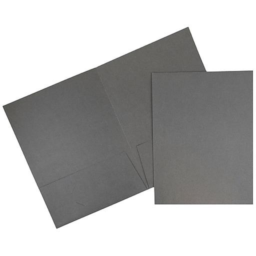 JAM Paper 2-Pocket Portfolio Folder, Gray Linen, 100/Box (3084B)