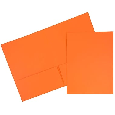JAM PaperMD – Chemises de présentation en papier cartonné de haute qualité à deux pochettes, orange, 100/paquet