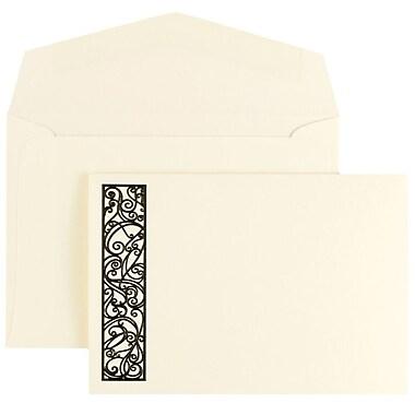 JAM PaperMD – Ensemble de faire-part de mariage, petit, 3 3/8 x 4 3/4 po, écru, bordure spiralée noire, enveloppe écrue, 100/pqt