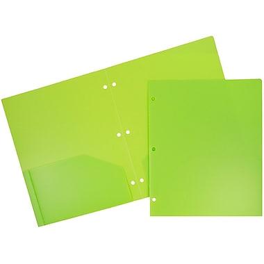 JAM PaperMD – Chemises d'école en plastique robuste à 3 trous et à 2 pochettes d'école, vert lime, 6/paquet