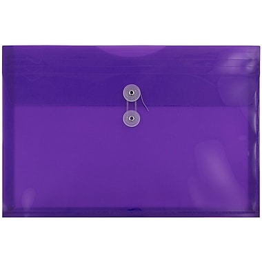 JAM Paper Plastic Envelopes with Button and String Tie Closure, Legal Booklet, 9.75 x 14.5, Purple Poly, 12/Pack