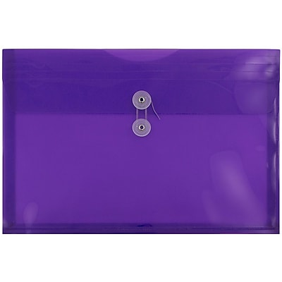 JAM Paper® Plastic Envelopes with Button and String Tie Closure, Legal Booklet, 9.75 x 14.5, Purple Poly, 12/pack (219B1PU)