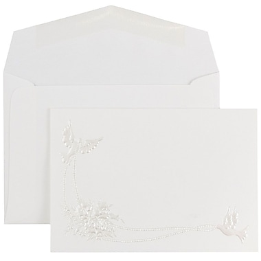 JAM PaperMD – Ensemble d'invitations Quinceanera, petit, 4 7/8 x 3 3/8, blanc, colombes perle, enveloppes blanches 100/pqt