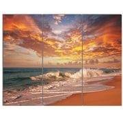 DesignArt 'Waves Under Colorful Clouds' 3 Piece Photographic Print on Canvas Set