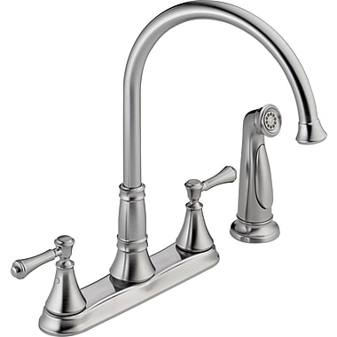 Delta Cassidy Double Handle Deck Mounted Kitchen Faucet w/ Spray; Arctic Stainless