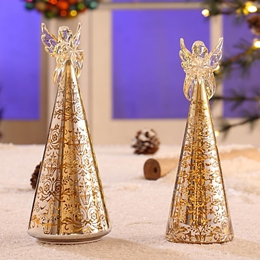 Legion Furniture 2 Piece Delightful Free Standing Angel Tree Set; Gold