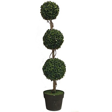 Essential Decor & Beyond 3 Ball Topiary in Pot; Gray