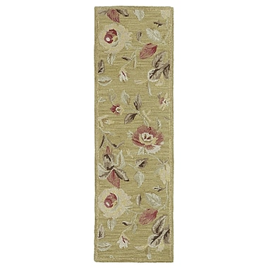 Red Barrel Studio Blakeslee Olive Floral Rug; 9'6'' x 13'