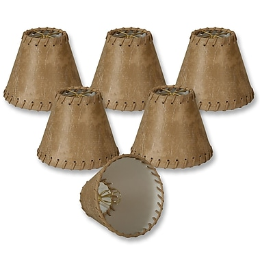 RoyalDesigns 6'' Faux Leather Empire Lamp Shade (Set of 6); Light Brown