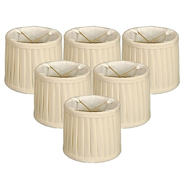 RoyalDesigns Side Pleat 6'' Silk Drum Candelabra Shade (Set of 6); Eggshell