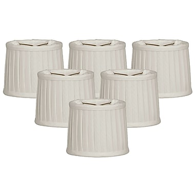 RoyalDesigns Side Pleat 5'' Silk Drum Candelabra Shade (Set of 6); White