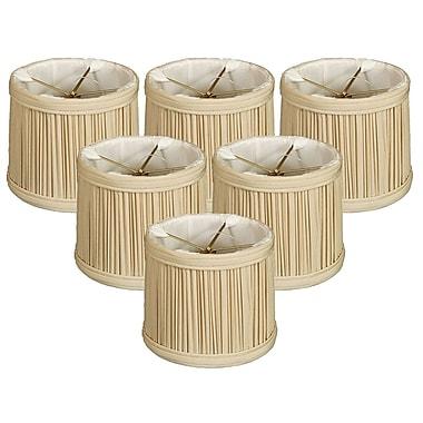 RoyalDesigns Gather Pleat 6'' Silk Drum Candelabra Shade (Set of 6); Beige