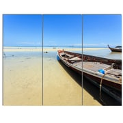 DesignArt 'Traditional Thai Boat on Beach' 3 Piece Photographic Print on Canvas Set