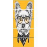 DesignArt 'Funny Terrier Dog w/ Glasses' 5 Piece Graphic Art on Canvas Set