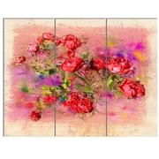 DesignArt 'Roses Pastel Chalk Illustration' 3 Piece Graphic Art on Canvas Set