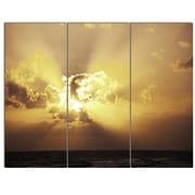 DesignArt 'Majestic Sea Sunset Through Clouds' 3 Piece Photographic Print on Canvas Set