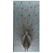 The Urban Port Peacock Hand-Painted Wooden Wall Art (C224-124110)