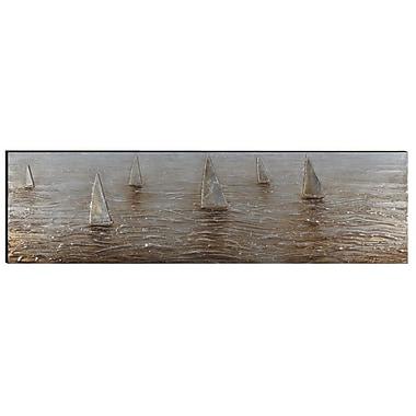 The Urban Port – Art mural en aluminium et bois peint à la main, bateaux à voiles (C224-124121)