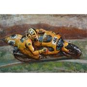 The Urban Port Team 46 Yellow Sports Bike Iron Wall Art (C239-124126)