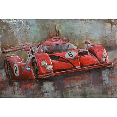 The Urban Port – Art mural en fer, voiture de sport numéro 8 rouge (C239-124127)