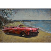 The Urban Port Red Vintage Look Convertible Car Wall Art (C239-124129)
