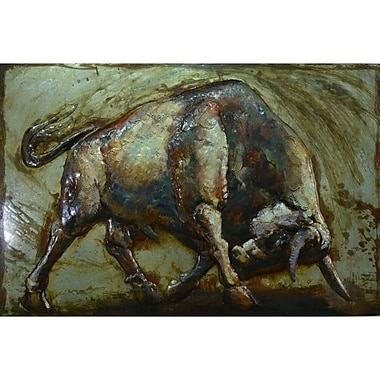 The Urban Port – Art mural en métal, taureau furieux, grand (C239-124136)