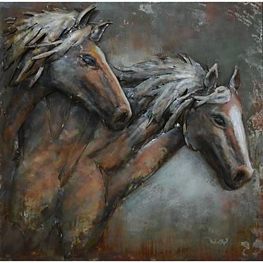The Urban Port – Art mural en métal, couple de chevaux (C239-124140)