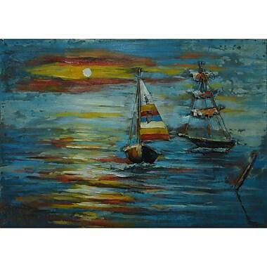 The Urban Port – Art nautique en métal, voiliers au coucher du soleil (C239-124141)