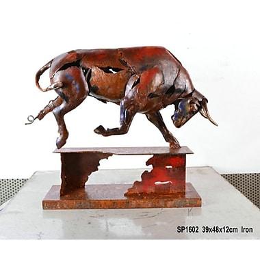 The Urban Port – Sculpture en métal, taureau furieux (C239-124142)