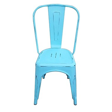 The Urban Port Tolix Steel Chair, Blue, 2/Pack (C210-123053)