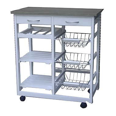 The Urban Port – Chariot de cuisine moderne avec tiroirs, blanc (C223-123008)