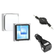 Insten Crystal Clip-on Case+Black Car Charger+Audio Cable For Apple iPod Nano 6 6G 6th Gen