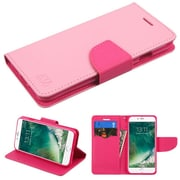 Insten Luxury Wallet Leather Stand Case Cover with Card Slots For iPhone 7 - Pink