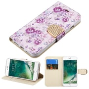 Insten Flowers Insten Luxury Wallet Leather Stand Case Cover with Card Slots For iPhone 7 - Purple