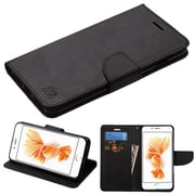Insten Flip Leather Fabric Cover Case w/stand/card slot For Apple iPhone 7 Plus - Black