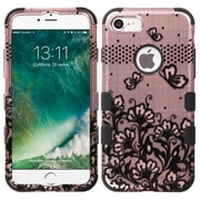 Insten Tuff Lace Flowers Hard Hybrid Rubberized Silicone Cover Case For Apple iPhone 7 - Rose Gold/Black