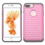 Insten Hard Hybrid Rubber Silicone Cover Case w/Diamond For Apple iPhone 7 Plus - Pink/Gray