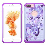 Insten Hibiscus Flower Romance Hard Hybrid Rubberized Silicone Cover Case For Apple iPhone 7 Plus - Purple/White