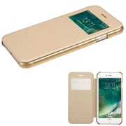 Insten Ultra Slim Fit Leather Case Cover with Window For Apple iPhone 7 - Gold