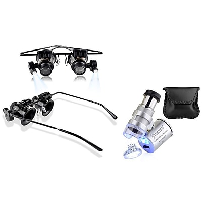 Insten 20X Magnifying Glasses & 60X Professional Magnifier Portable Loupe (both with LED Light) for Jeweler Watch Repair