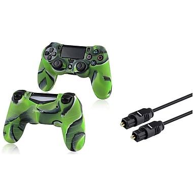 Insten ? Étui à motif camouflage vert et câble audio optique numérique de 3 pi Toslink pour PS4 PlayStation 4 (1704038)