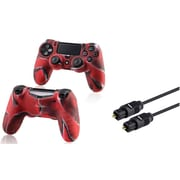 Insten 3FT Toslink Digital Audio Optical Cable Cord+Camouflage Navy Red Case Cover for PS4 Playstation 4